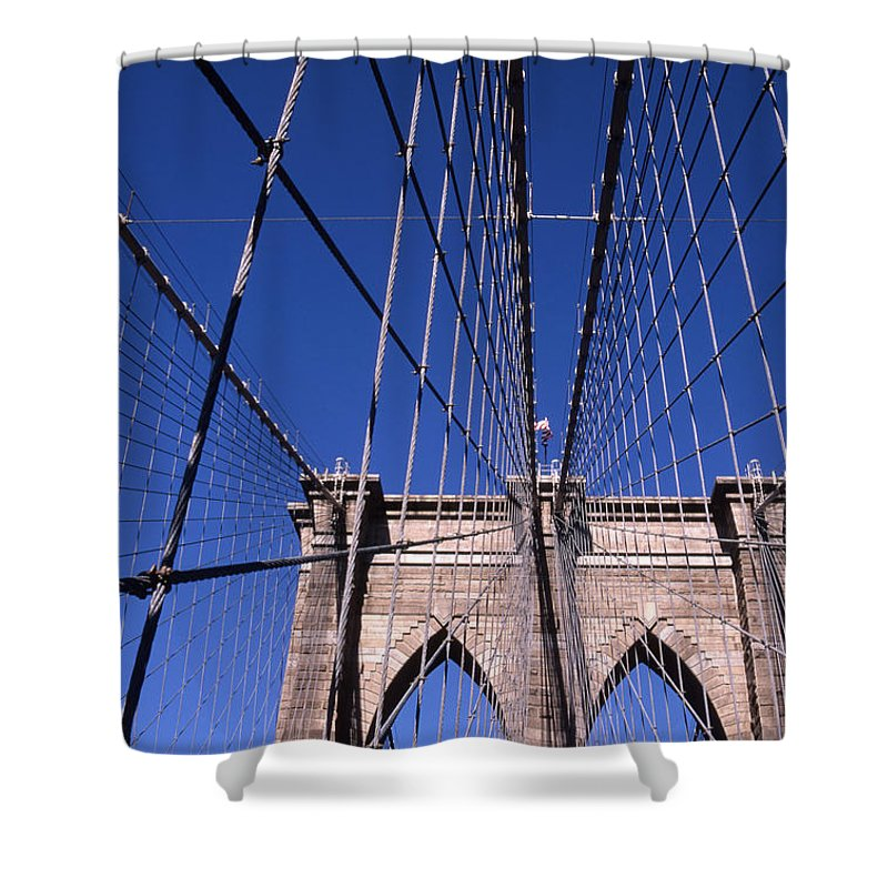 Landscape Brooklyn Bridge New York City Shower Curtain featuring the photograph Cnrg0407 by Henry Butz