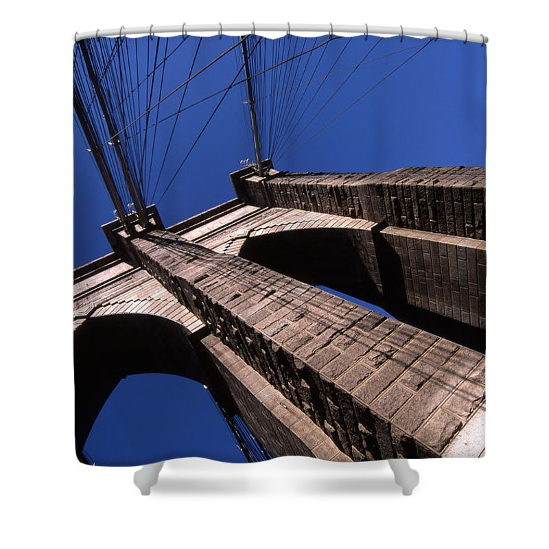 Landscape Brooklyn Bridge New York City Shower Curtain featuring the photograph Cnrg0408 by Henry Butz