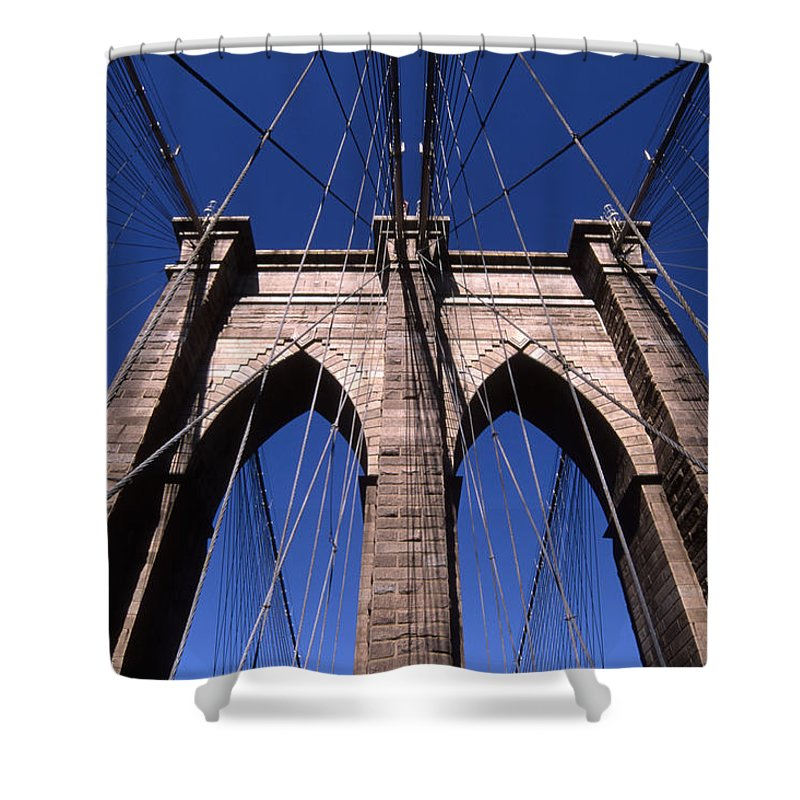 Landscape Brooklyn Bridge New York City Shower Curtain featuring the photograph Cnrg0409 by Henry Butz