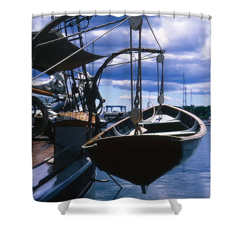 Landscape Camden Harbor Maine Sail Boat Harbor Nautical Shower Curtain featuring the photograph Cnrh0601 by Henry Butz