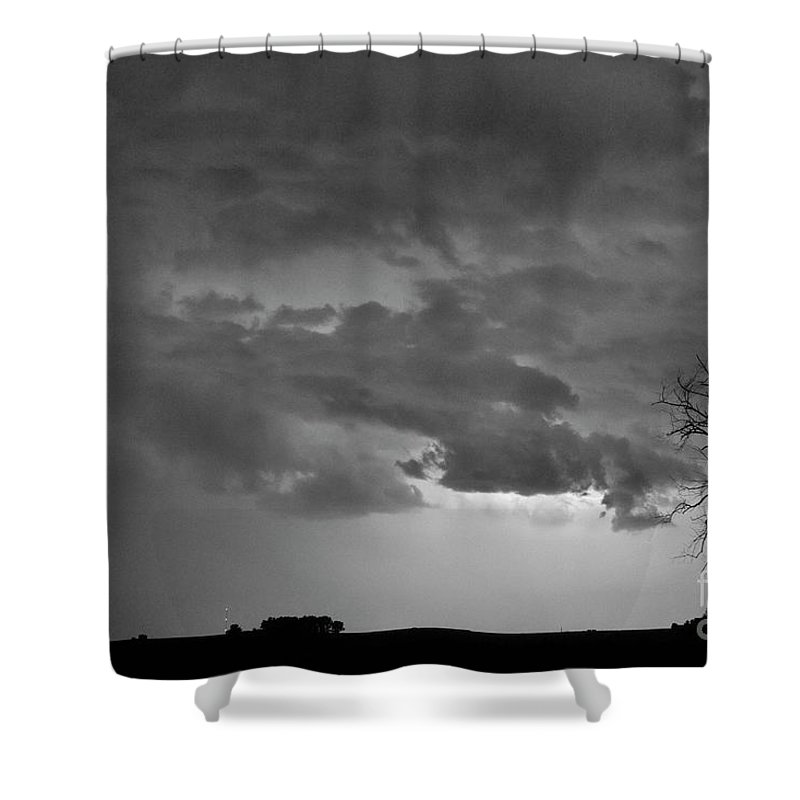 Tree Shower Curtain featuring the photograph Co Cloud To Cloud Lightning Thunderstorm 27 Bw by James BO Insogna
