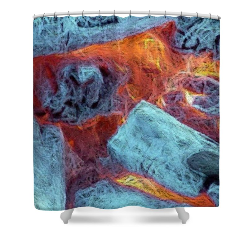 Fire Art Shower Curtain featuring the digital art Coals And Embers by Ron Bissett
