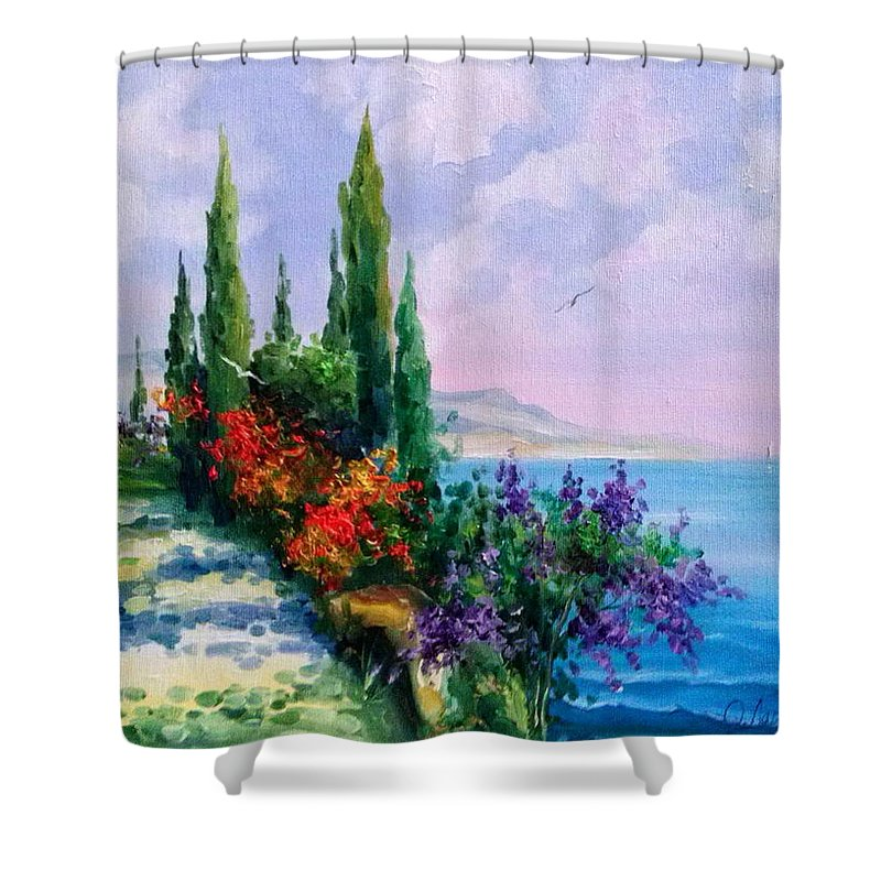 Coast Oil Painting On Canvas On Cardboard Shower Curtain featuring the painting Coast by Olha Darchuk
