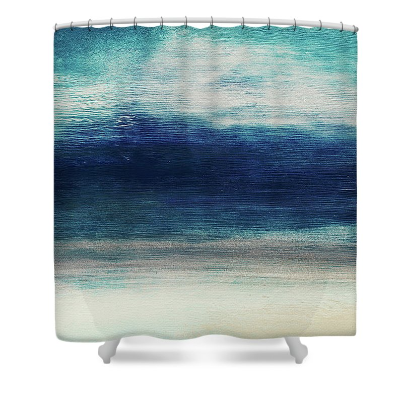 Beach Shower Curtain featuring the mixed media Coastal Escape 2- Art By Linda Woods by Linda Woods