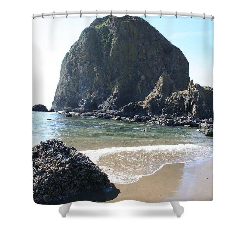 Coastal Landscape Shower Curtain featuring the photograph Coastal Landscape - Cannon Beach Afternoon - Scenic Lanscape by Quin Sweetman