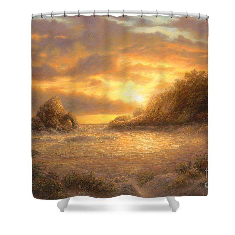 Sunset Shower Curtain featuring the painting Coastal Sunset by Chuck Pinson