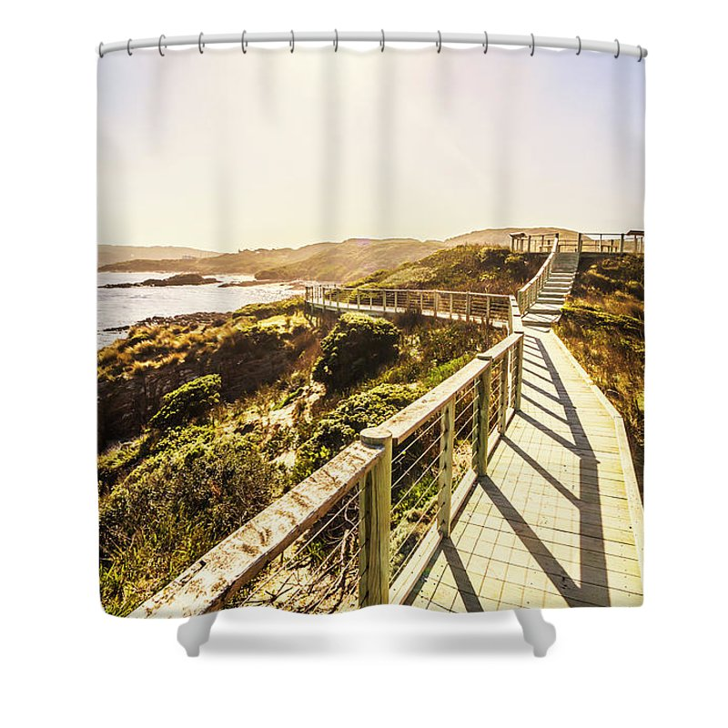 Walkway Shower Curtain featuring the photograph Coastal Way by Jorgo Photography - Wall Art Gallery