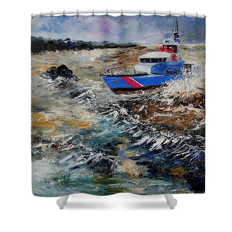 Sea Shower Curtain featuring the painting Coastguards by Pol Ledent