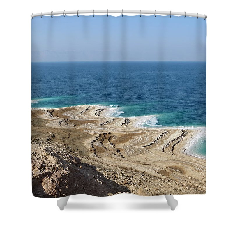 Valerie Trot Shower Curtain featuring the photograph Coastline In The Desert by Valeria New