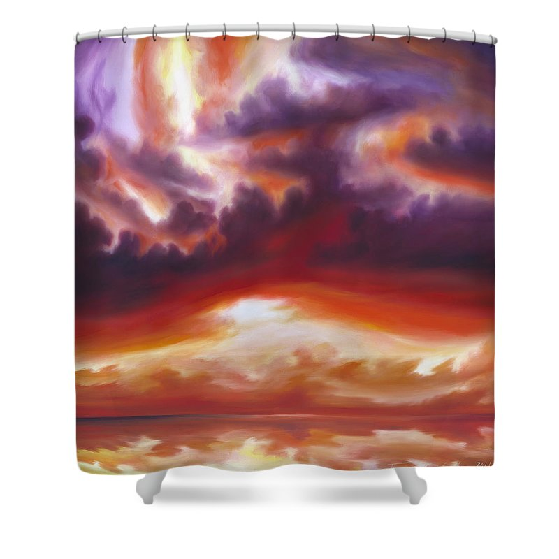 Skyscape Shower Curtain featuring the painting Coastline by James Christopher Hill
