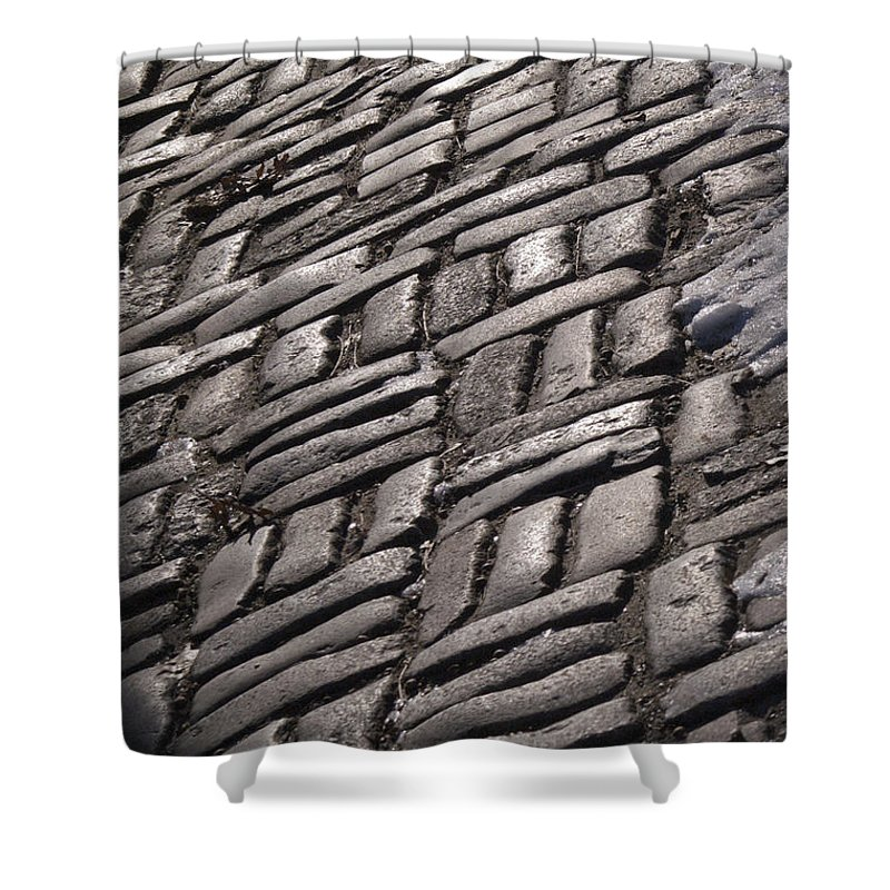 Cobblestone Shower Curtain featuring the photograph Cobble Stone Walk by Henri Irizarri
