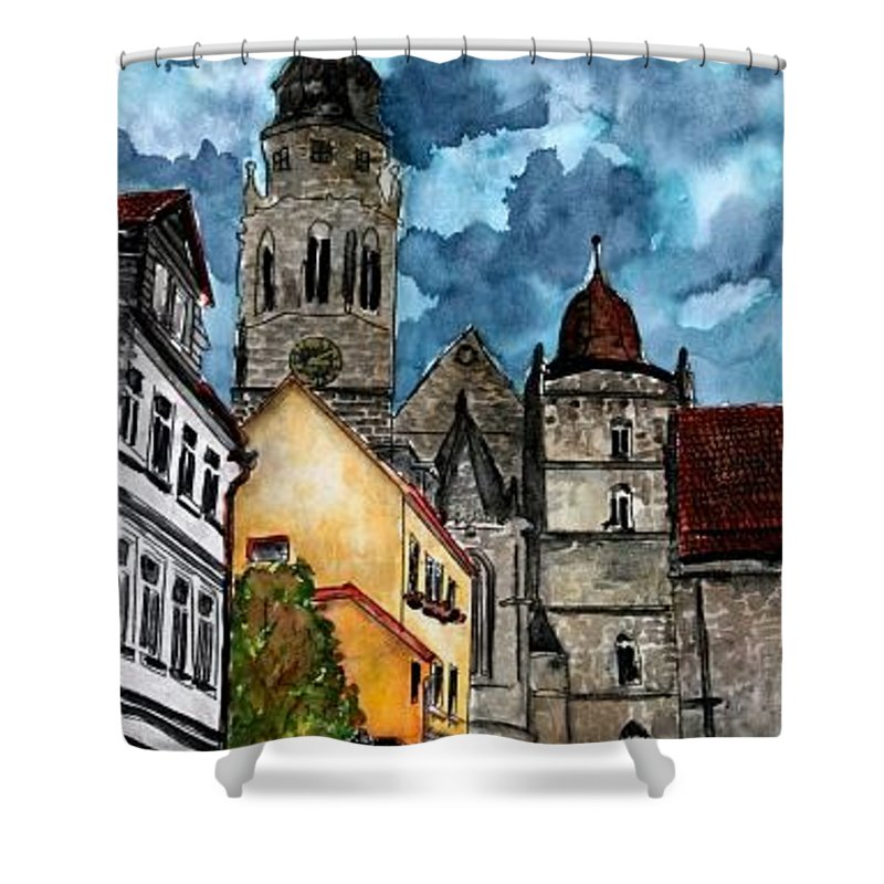 Germany Shower Curtain featuring the painting Coburg Germany Castle Painting Art Print by Derek Mccrea