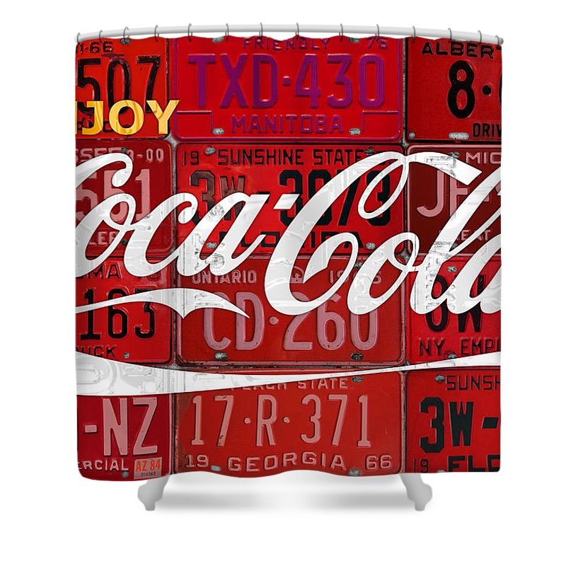 Coca Cola Shower Curtain featuring the mixed media Coca Cola Enjoy Soft Drink Soda Pop Beverage Vintage Logo Recycled License Plate Art by Design Turnpike