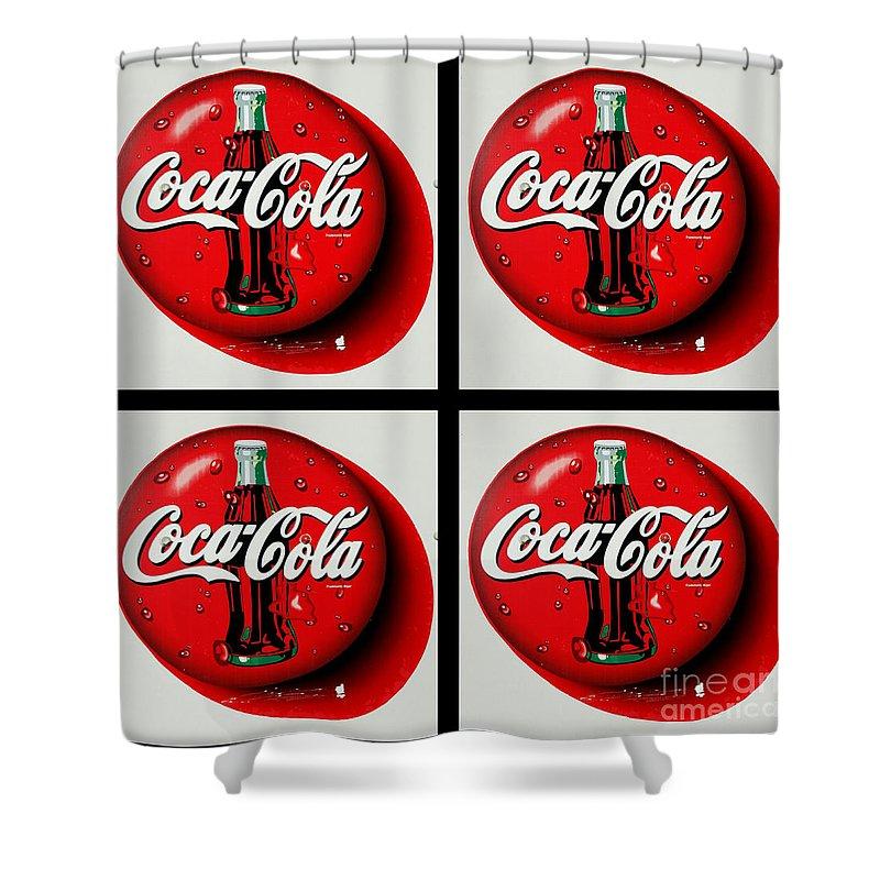Coca cola iconic button logo tile black border shower - Bathroom coca cola shower curtain ...