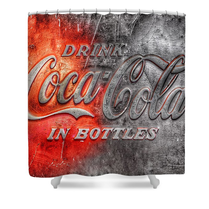 Coca cola shower curtain for sale by marianna mills - Bathroom coca cola shower curtain ...