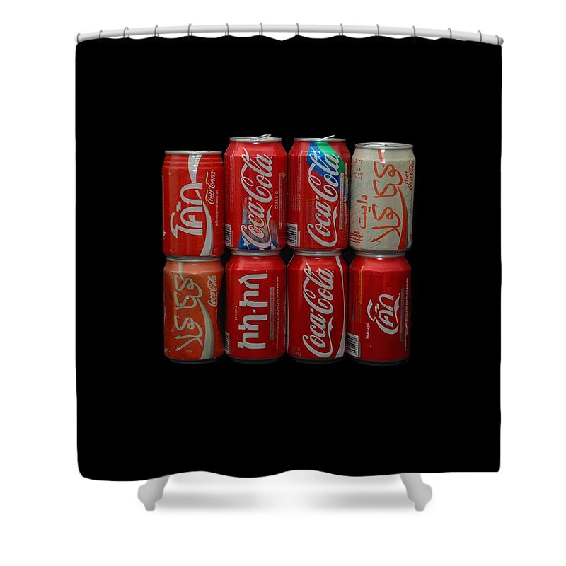 White Shower Curtain featuring the photograph Coca Cola by Rob Hans