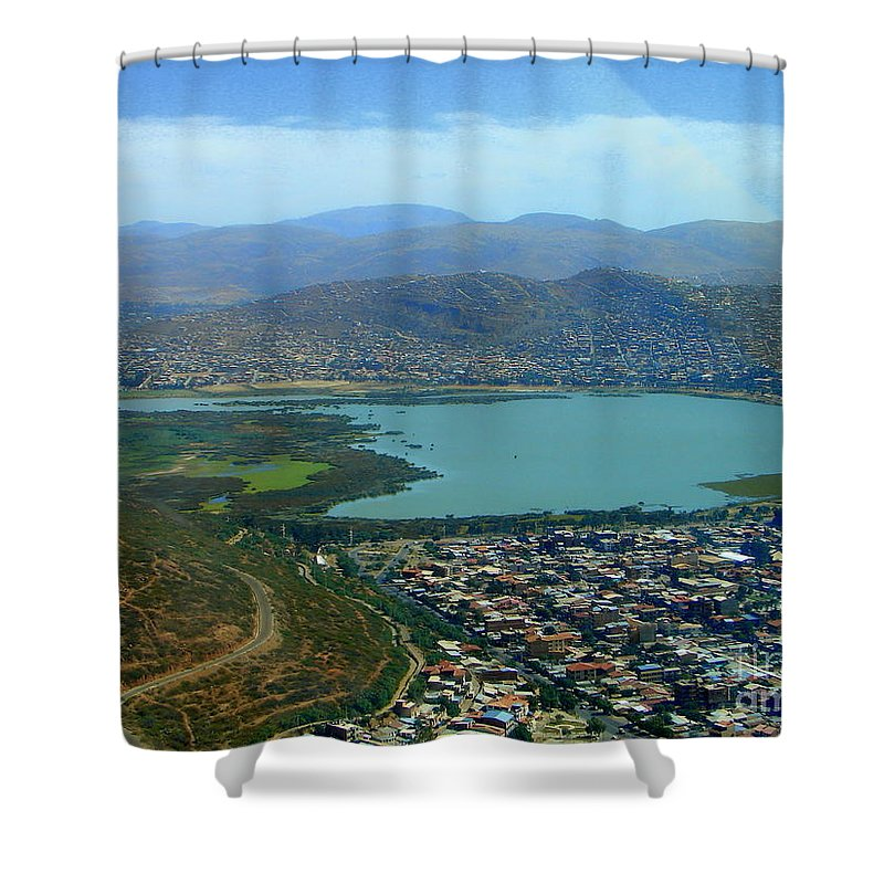 Lake Shower Curtain featuring the photograph Cochabamba Lake by Lew Davis