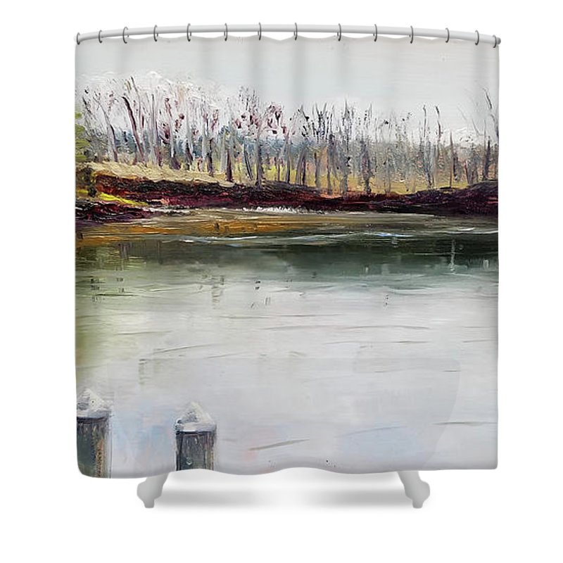 En Plein Air Shower Curtain featuring the painting Cocheco Bend by Susan E Hanna