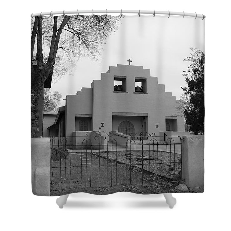 Architecture Shower Curtain featuring the photograph Cochiti Church by Rob Hans