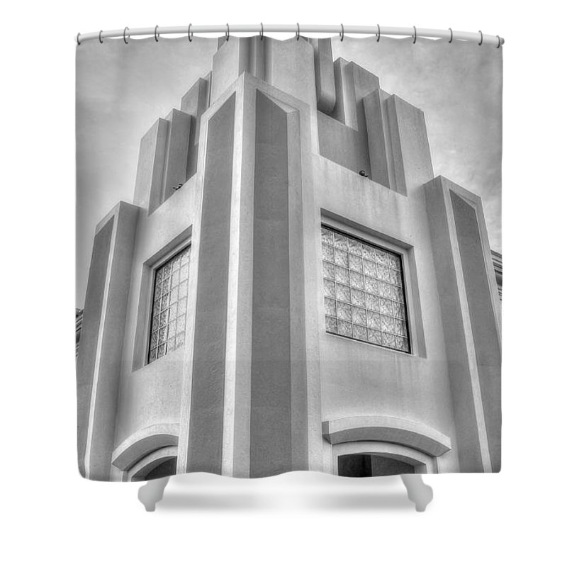 Cocoa Art Deco Shower Curtain featuring the photograph Cocoa Art Deco-2 Bw by James Markey
