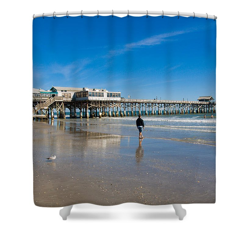 Florida; Cocoa; Beach; Atlantic; Ocean; East; Space; Coast; Brevard; Central; Pier; Surf; Surfing; F Shower Curtain featuring the photograph Cocoa Beach Florida by Allan Hughes