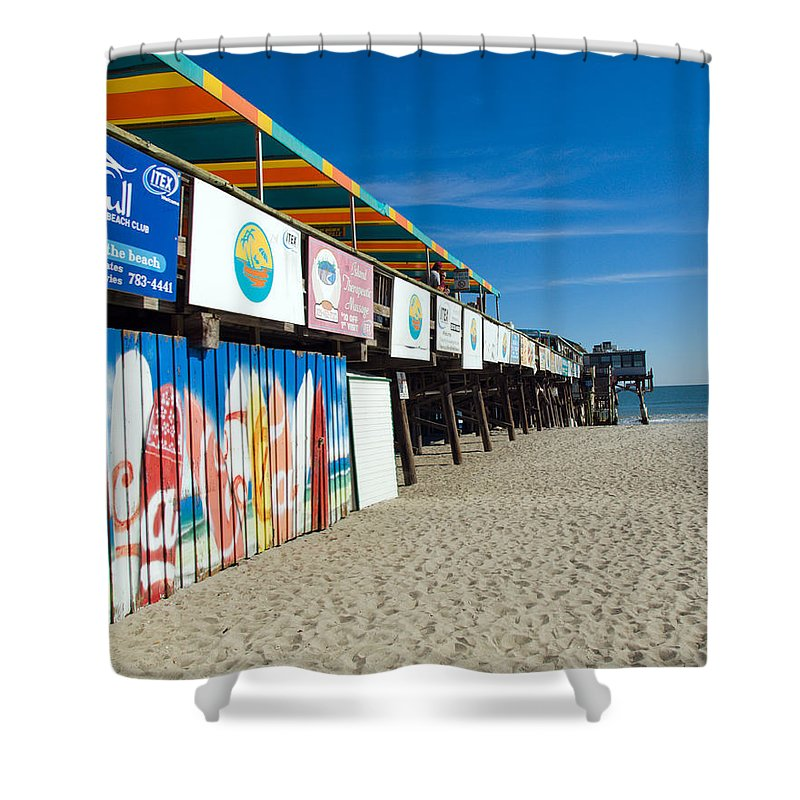 Florida; Cocoa; Beach; Atlantic; Ocean; East; Space; Coast; Brevard; Central; Pier; Surf; Surfing; F Shower Curtain featuring the photograph Cocoa Beach Flotida by Allan Hughes