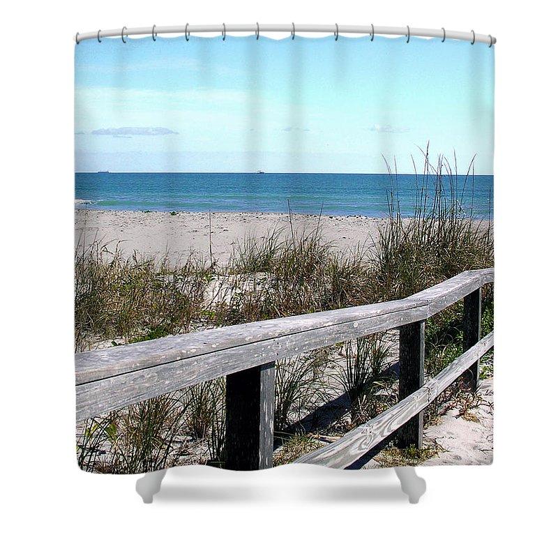 Beach; Florida; Cocoa; Railing; Ocean; Atlantic; Sea; Cocoa Beach; Brevard; Sand; Wood; Ships; Space Shower Curtain featuring the photograph Cocoa Beach In Florida by Allan Hughes