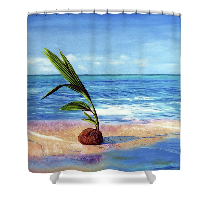 Ocean Shower Curtain featuring the painting Coconut on beach by Jose Manuel Abraham