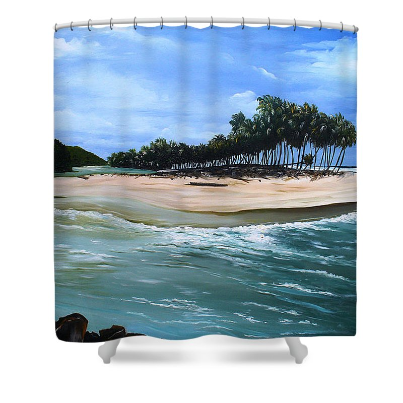 Ocean Paintings Sea Scape Paintings  Beach Paintings Palm Trees Paintings Water Paintings River Paintings  Caribbean Paintings  Tropical Paintings Trinidad And Tobago Paintings Beach Paintings Shower Curtain featuring the painting Cocos Bay Trinidad by Karin Dawn Kelshall- Best