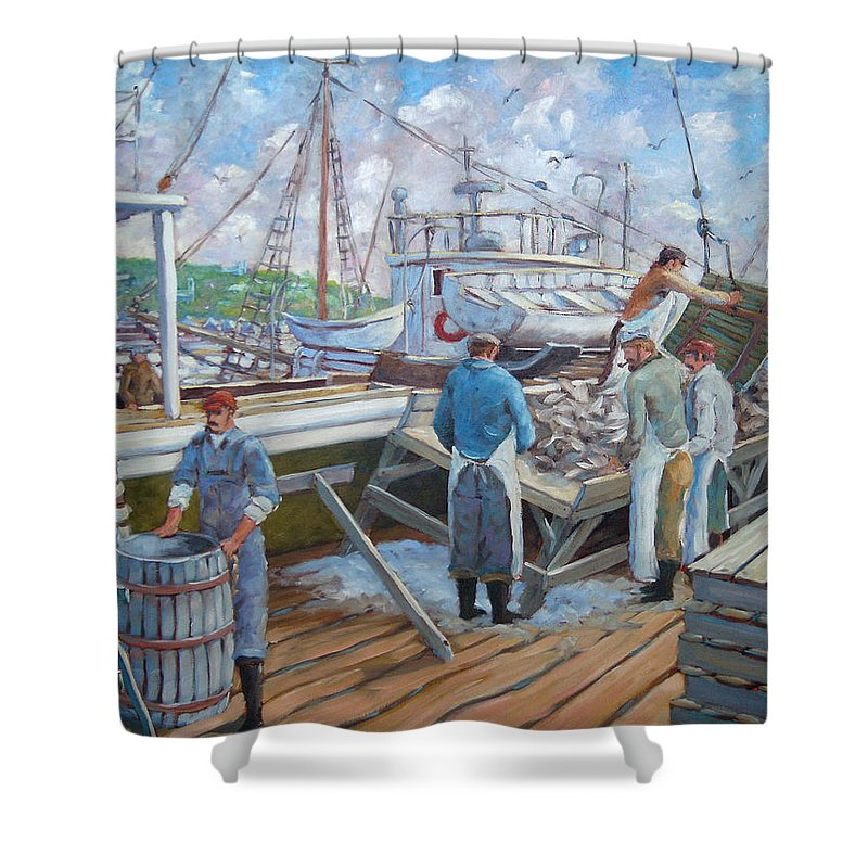 Cod Shower Curtain featuring the painting Cod Memories by Richard T Pranke