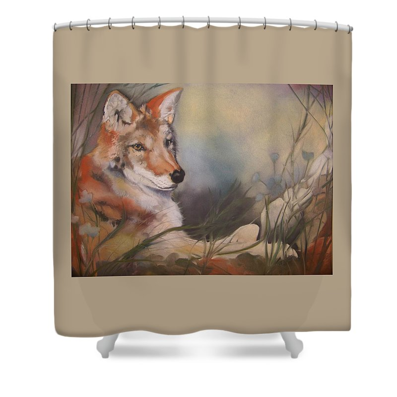Coyote Shower Curtain featuring the pastel Cody by Marika Evanson