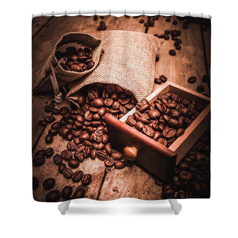 Art Shower Curtain featuring the photograph Coffee Bean Art by Jorgo Photography - Wall Art Gallery