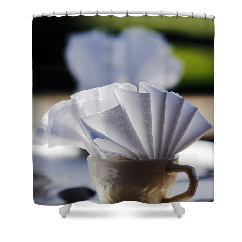 Coffee Cup Mug Breakfast Still Life Morning Table Setting Shower Curtain featuring the photograph Coffee Cup by Jill Reger