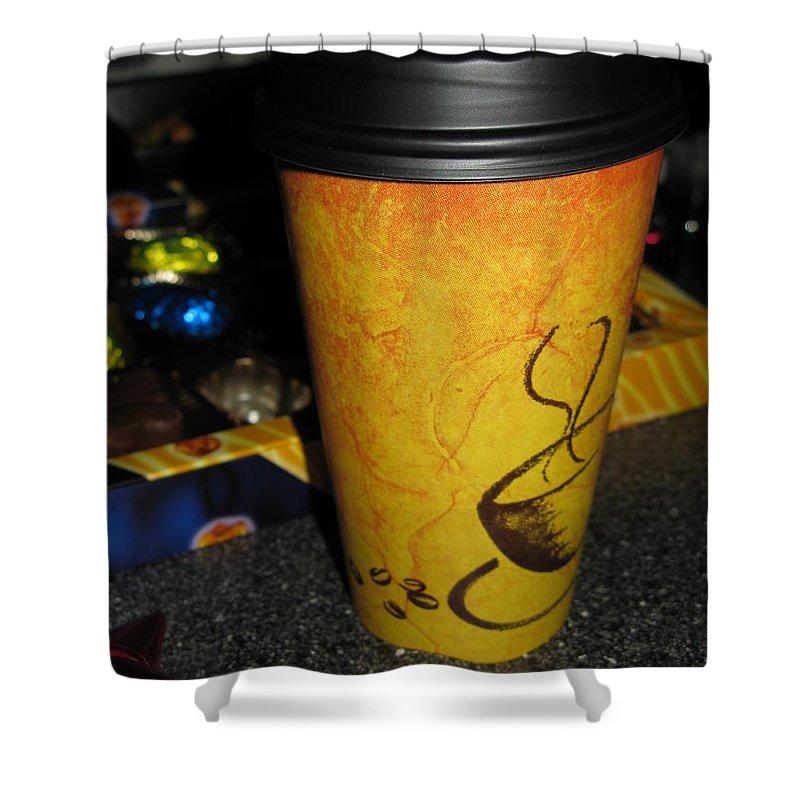 Coffee Shower Curtain featuring the photograph Coffee Cup Series. Yellow And Orange. by Ausra Huntington nee Paulauskaite
