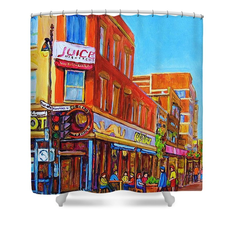 Cityscape Shower Curtain featuring the painting Coffee Depot Cafe And Terrace by Carole Spandau