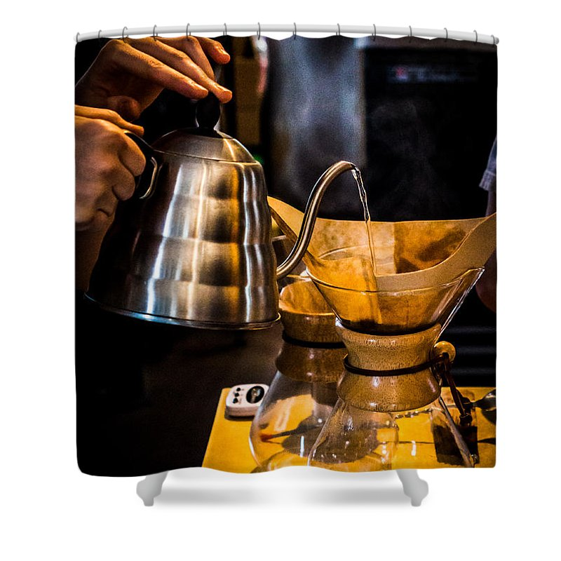 Coffee Shower Curtain featuring the photograph Coffee First by Ant Pruitt