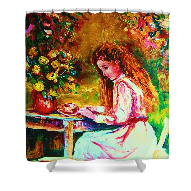 Impressionism Shower Curtain featuring the painting Coffee In The Garden by Carole Spandau