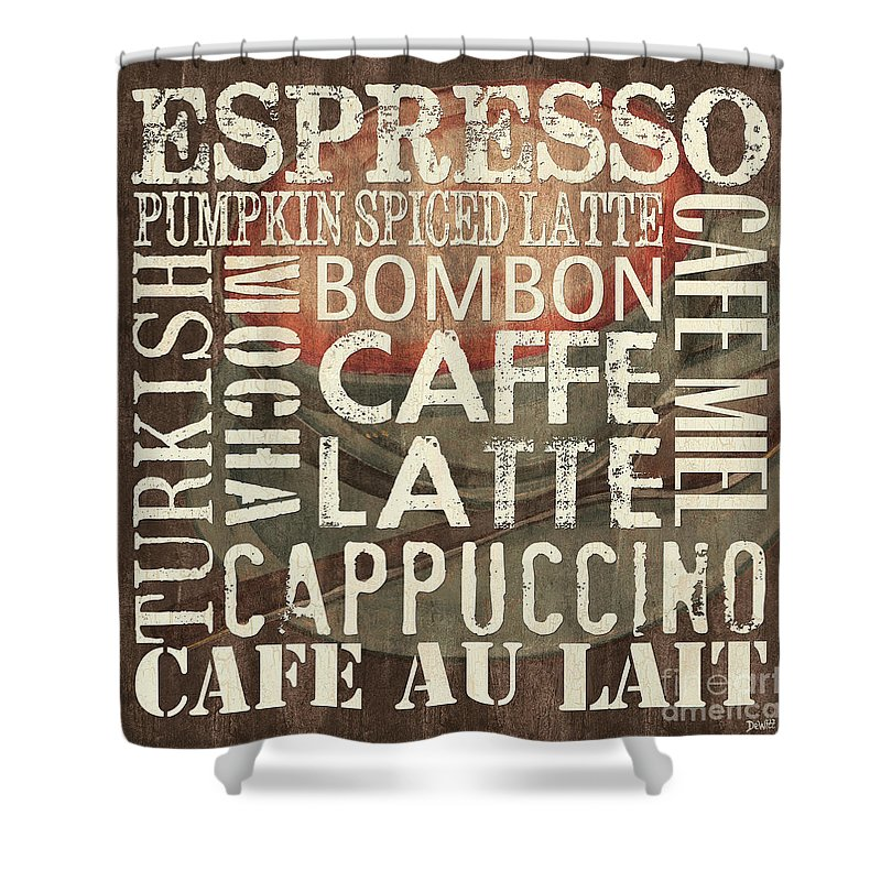 Coffee Shower Curtain featuring the painting Coffee Of The Day 2 by Debbie DeWitt