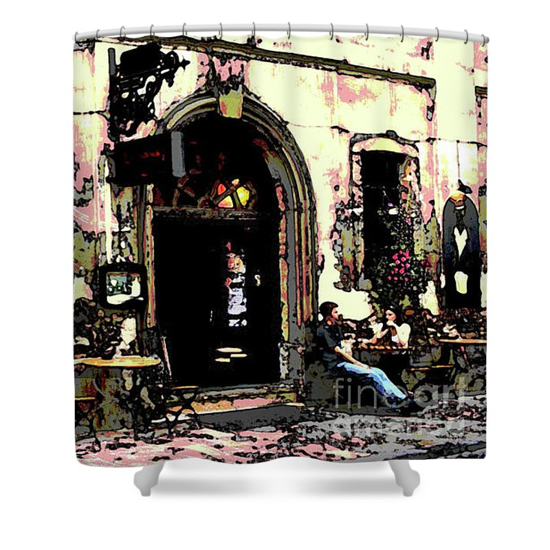 Coffee Table Conversation Exterior Shower Curtain featuring the digital art Coffee Shop by Sandra Nortje