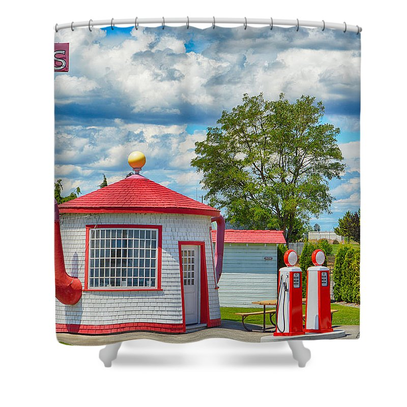 Scenic Shower Curtain featuring the photograph Coffee Tea Or Gas by AJ Schibig
