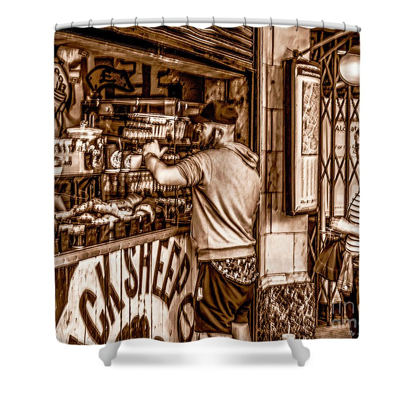 London Shower Curtain featuring the photograph Coffee Time At The Station. by Nigel Dudson