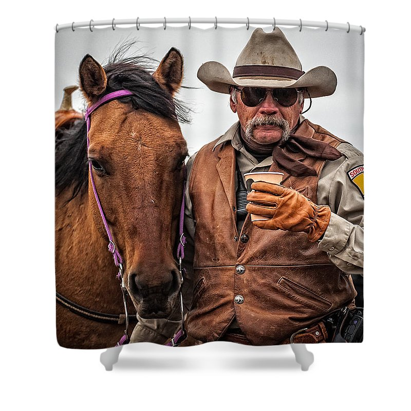 Portrait Shower Curtain featuring the photograph Coffee To Go by Douglas Conrad