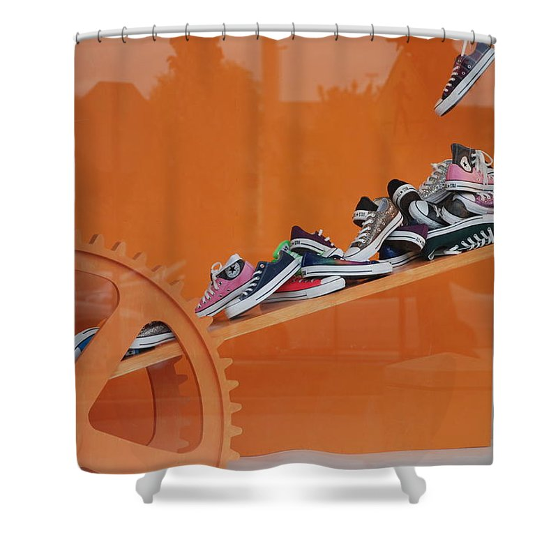 Orange Shower Curtain featuring the photograph Cogs N Converse by Rob Hans