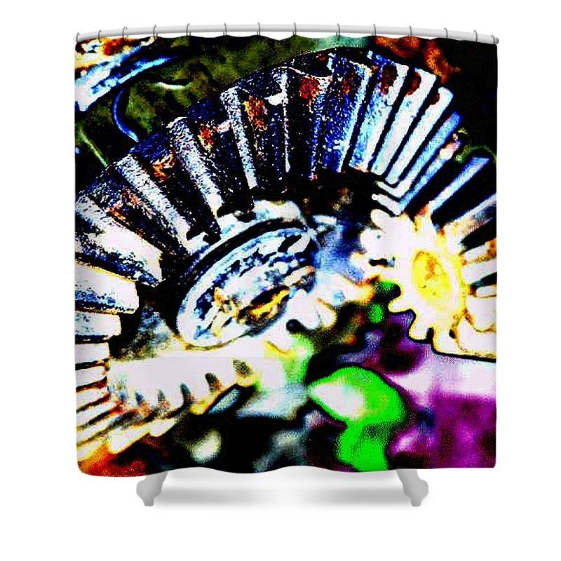 Cogs Shower Curtain featuring the digital art Cogs by Tim Allen