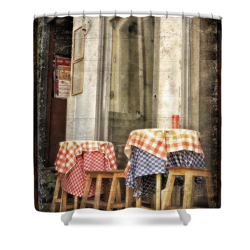 Street Shower Curtain featuring the photograph Coimbra Cafe by Diana Rajala