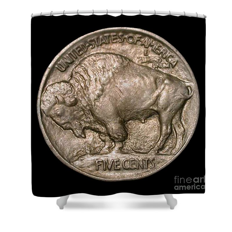 Currency Shower Curtain featuring the photograph Coin Buffalo by Jost Houk