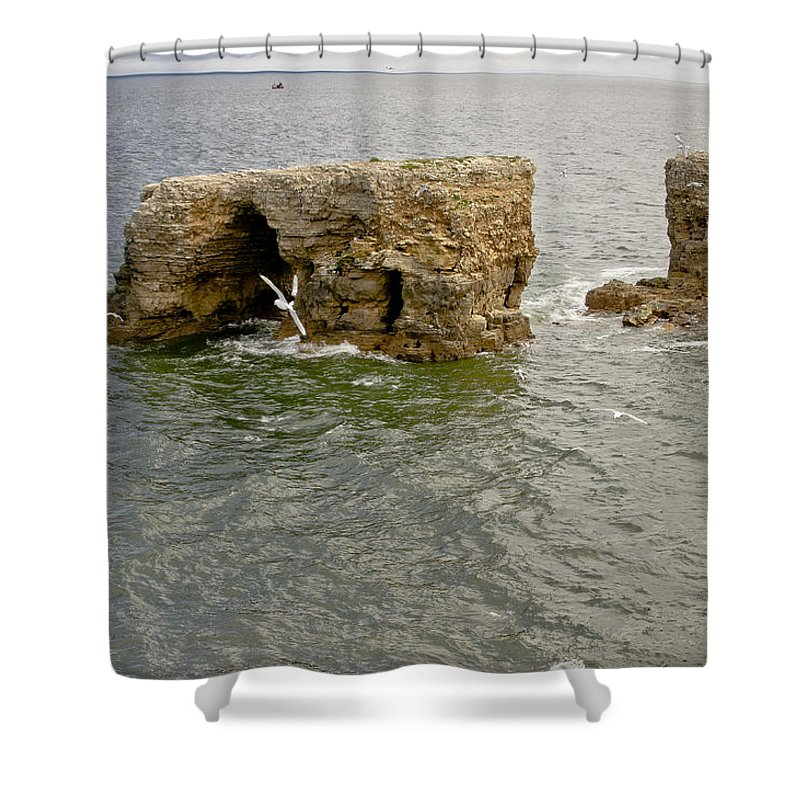 Cold Shower Curtain featuring the photograph Cold Day At The Seaside. by Elena Perelman