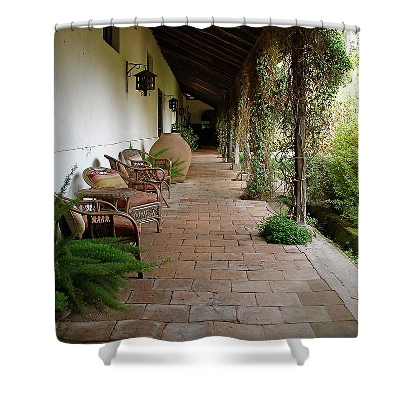 Colchagua Shower Curtain featuring the photograph Colchagua Valley Porch by Brett Winn