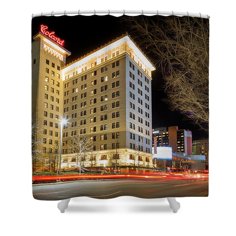 Okc Shower Curtain featuring the photograph Colcord At Night by Ricky Barnard