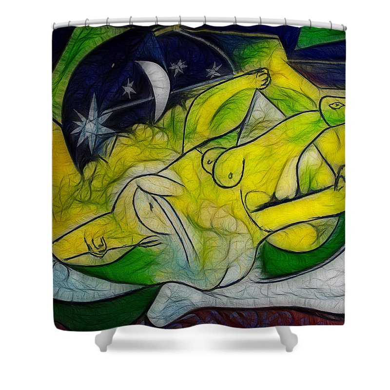 Moon Shower Curtain featuring the painting Cold Feet At Midnight by Joachim G Pinkawa